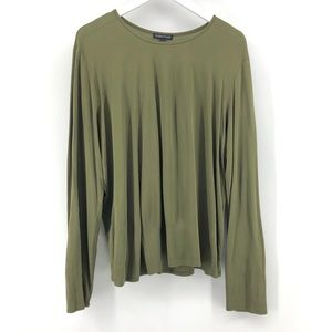 Eileen Fisher Silk Blouse XL Olive Green Long Slv